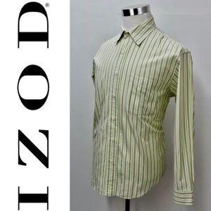 IZOD Button Down Dress Shirt Size L Striped